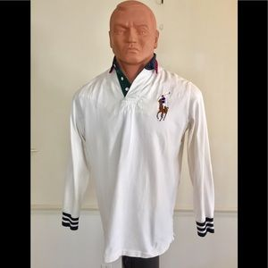 POLO Vintage Ralph Lauren White Big Pony Rugby L